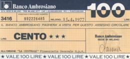 MINIASSEGNO BANCO AMBROSIANO LA CENTRALE FINANZIARIA L.100 FDS (YM608 - [10] Chèques