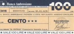 MINIASSEGNO BANCO AMBROSIANO LA CENTRALE FINANZIARIA L.100 FDS (YM812 - [10] Chèques