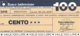 MINIASSEGNO BANCO AMBROSIANO LA CENTRALE FINANZIARIA L.100 FDS (YM813 - [10] Chèques