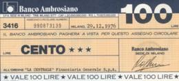 MINIASSEGNO BANCO AMBROSIANO LA CENTRALE FINANZIARIA L.100 FDS (YM814 - [10] Chèques