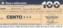 MINIASSEGNO BANCO AMBROSIANO LA CENTRALE FINANZIARIA L.100 FDS (YM815 - [10] Chèques