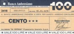 MINIASSEGNO BANCO AMBROSIANO LA CENTRALE FINANZIARIA L.100 FDS (YM816 - [10] Chèques