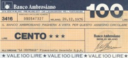 MINIASSEGNO BANCO AMBROSIANO LA CENTRALE FINANZIARIA L.100 FDS (YM817 - [10] Chèques