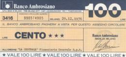 MINIASSEGNO BANCO AMBROSIANO LA CENTRALE FINANZIARIA L.100 FDS (YM818 - [10] Chèques
