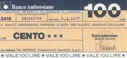 MINIASSEGNO BANCO AMBROSIANO LA CENTRALE FINANZIARIA L.100 FDS (YM819 - [10] Chèques