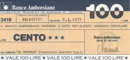 MINIASSEGNO BANCO AMBROSIANO LA CENTRALE FINANZIARIA L.100 FDS (YM820 - [10] Chèques