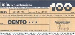 MINIASSEGNO BANCO AMBROSIANO LA CENTRALE FINANZIARIA L.100 FDS (YM821 - [10] Chèques