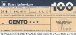 MINIASSEGNO BANCO AMBROSIANO LA CENTRALE FINANZIARIA L.100 FDS (YM822 - [10] Chèques