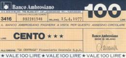 MINIASSEGNO BANCO AMBROSIANO LA CENTRALE FINANZIARIA L.100 FDS (YM823 - [10] Chèques