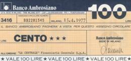 MINIASSEGNO BANCO AMBROSIANO LA CENTRALE FINANZIARIA L.100 FDS (YM824 - [10] Chèques