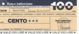 MINIASSEGNO BANCO AMBROSIANO LA CENTRALE FINANZIARIA L.100 FDS (YM828 - [10] Chèques