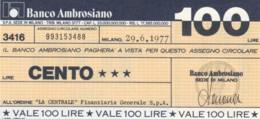 MINIASSEGNO BANCO AMBROSIANO LA CENTRALE FINANZIARIA L.100 FDS (YM829 - [10] Chèques