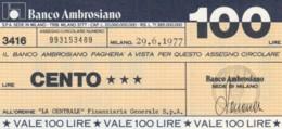 MINIASSEGNO BANCO AMBROSIANO LA CENTRALE FINANZIARIA L.100 FDS (YM830 - [10] Chèques
