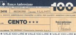 MINIASSEGNO BANCO AMBROSIANO LA CENTRALE FINANZIARIA L.100 FDS (YM855 - [10] Chèques