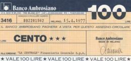 MINIASSEGNO BANCO AMBROSIANO LA CENTRALE FINANZIARIA L.100 FDS (YM857 - [10] Chèques
