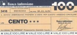 MINIASSEGNO BANCO AMBROSIANO LA CENTRALE FINANZIARIA L.100 FDS (YM916 - [10] Chèques