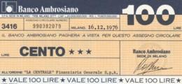 MINIASSEGNO BANCO AMBROSIANO LA CENTRALE FINANZIARIA L.100 FDS (YM917 - [10] Chèques