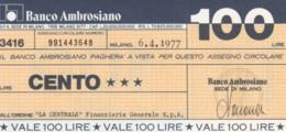 MINIASSEGNO BANCO AMBROSIANO LA CENTRALE FINANZIARIA L.100 FDS (YM918 - [10] Chèques