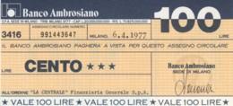 MINIASSEGNO BANCO AMBROSIANO LA CENTRALE FINANZIARIA L.100 FDS (YM919 - [10] Chèques