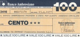 MINIASSEGNO BANCO AMBROSIANO LA CENTRALE FINANZIARIA L.100 FDS (YM920 - [10] Chèques