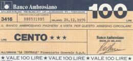 MINIASSEGNO BANCO AMBROSIANO LA CENTRALE FINANZIARIA L.100 FDS (YM921 - [10] Chèques