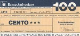 MINIASSEGNO BANCO AMBROSIANO LA CENTRALE FINANZIARIA L.100 QFDS (YM665 - [10] Chèques