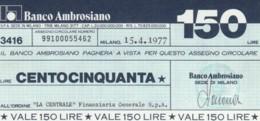 MINIASSEGNO BANCO AMBROSIANO LA CENTRALE FINANZIARIA L.150 FDS (YM607 - [10] Chèques