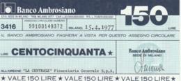 MINIASSEGNO BANCO AMBROSIANO LA CENTRALE FINANZIARIA L.150 FDS (YM825 - [10] Chèques
