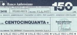 MINIASSEGNO BANCO AMBROSIANO LA CENTRALE FINANZIARIA L.150 FDS (YM826 - [10] Chèques