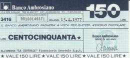 MINIASSEGNO BANCO AMBROSIANO LA CENTRALE FINANZIARIA L.150 FDS (YM827 - [10] Assegni E Miniassegni