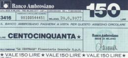 MINIASSEGNO BANCO AMBROSIANO LA CENTRALE FINANZIARIA L.150 FDS (YM831 - [10] Chèques