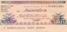 MINIASSEGNO BANCO CHIAVARI ASS COMM GENOVA L.300 CIRCOLATO (YM775 - [10] Chèques