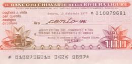 MINIASSEGNO BANCO DI CHIAVARI ASS COMM GENOVA L.100 QFDS (YM704 - [10] Chèques