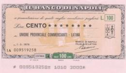 MINIASSEGNO BANCO DI NAPOLI UN COMM LATINA L.100 FDS -girata Firmata (YM634 - [10] Scheck Und Mini-Scheck