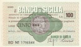 MINIASSEGNO BANCO DI SICILIA ASS COMM GENOVA L.100 FDS (YM1016 - [10] Chèques