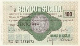 MINIASSEGNO BANCO DI SICILIA COIN L.100 FDS (YM1019 - [10] Chèques