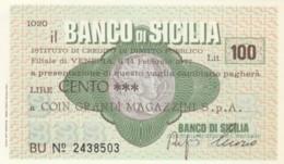 MINIASSEGNO BANCO DI SICILIA COIN L.100 FDS (YM1020 - [10] Chèques