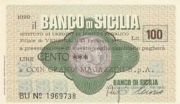 MINIASSEGNO BANCO DI SICILIA COIN L.100 FDS (YM1021 - [10] Chèques
