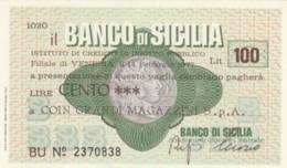 MINIASSEGNO BANCO DI SICILIA COIN L.100 FDS (YM1022 - [10] Chèques