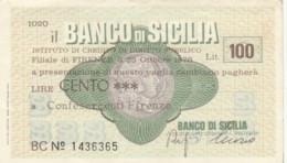 MINIASSEGNO BANCO DI SICILIA CONFESERCENTI FIRENZE L.100 CIRCOLATO (YM752 - [10] Chèques
