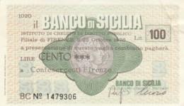 MINIASSEGNO BANCO DI SICILIA CONFESERCENTI FIRENZE L.100 CIRCOLATO (YM795 - [10] Assegni E Miniassegni