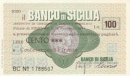 MINIASSEGNO BANCO DI SICILIA CONFESERCENTI FIRENZE L.100 FDS (YM1024 - [10] Chèques