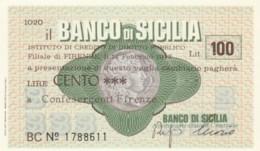 MINIASSEGNO BANCO DI SICILIA CONFESERCENTI FIRENZE L.100 FDS (YM1025 - [10] Chèques