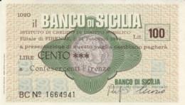 MINIASSEGNO BANCO DI SICILIA CONFESERCENTI FIRENZE L.100 QFDS (YM672 - [10] Chèques