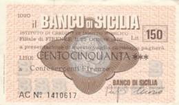 MINIASSEGNO BANCO DI SICILIA CONFESERCENTI FIRENZE L.150 CIRCOLATO (YM796 - [10] Assegni E Miniassegni
