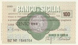 MINIASSEGNO BANCO DI SICILIA COOP OPERATORI TUR. CEFALU' L.100 FDS (YM863 - [10] Chèques