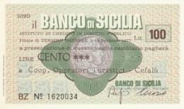 MINIASSEGNO BANCO DI SICILIA COOP OPERATORI TUR. CEFALU' L.100 FDS (YM864 - [10] Chèques
