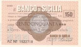 MINIASSEGNO BANCO DI SICILIA COOP OPERATORI TUR. CEFALU' L.150 FDS (YM865 - [10] Chèques