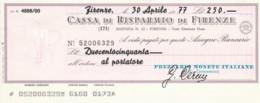 MINIASSEGNO CASSA RISPARMIO FIRENZE AL PORTATORE L.250 FDS (YM644 - [10] Scheck Und Mini-Scheck