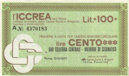 MINIASSEGNO ICCREA BAR GELATERIA VALVERDE CESENATICO L.100 QFDS (YM699 - [10] Scheck Und Mini-Scheck